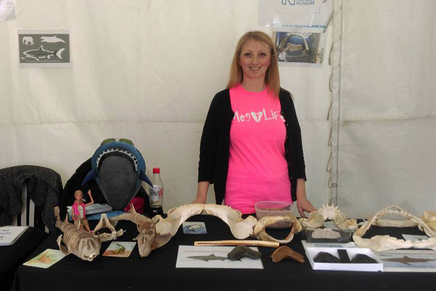 A member of staff from the Natural History Museum at the Yorkshire Fossil Festival