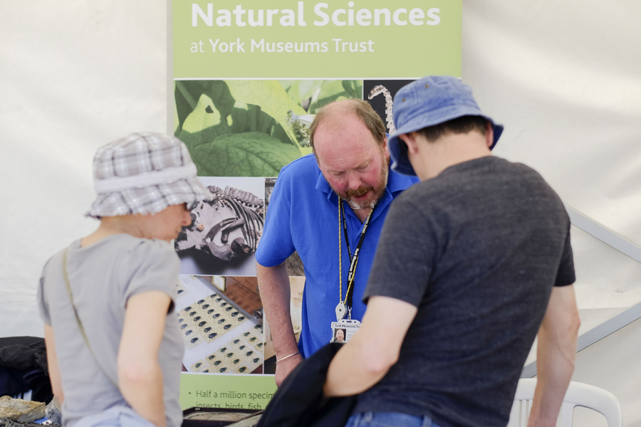 Talking to experts at Yorkshire Fossil Festival