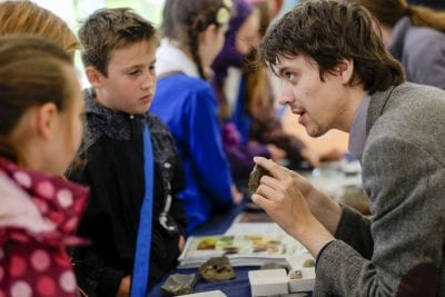 An expert explains more to children at Yorkshire Fossil Festival